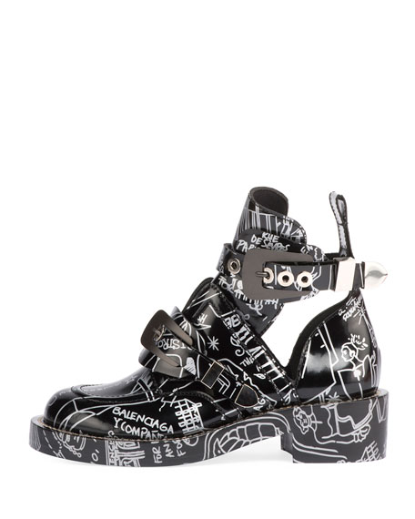 Graffiti Buckled Platform Bootie