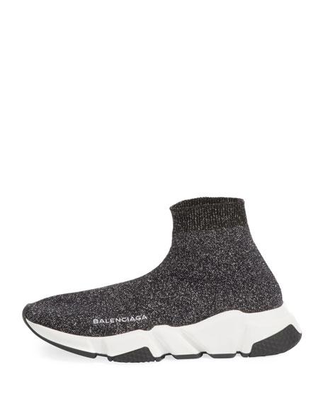 Metallic Knit High-Top Sock Sneaker
