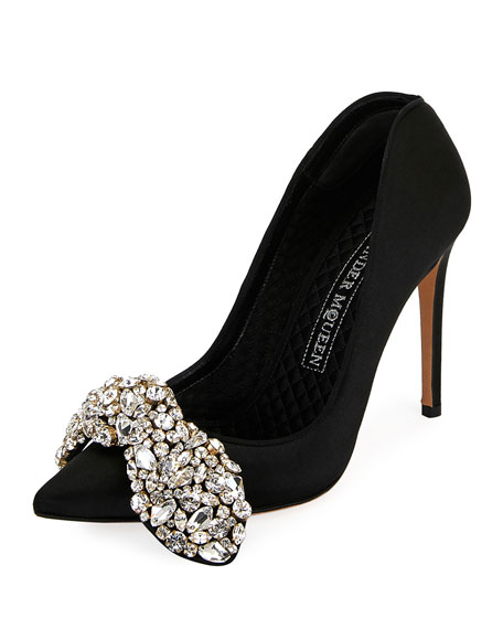 Crystal-Embellished Fabric 105mm Pump