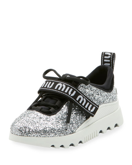 Glitter Platform Trainer with Logo Strap