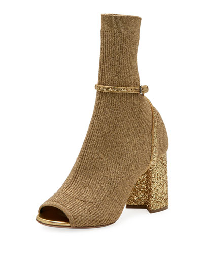 Metallic Stretch-Knit 85mm Open-Toe Bootie