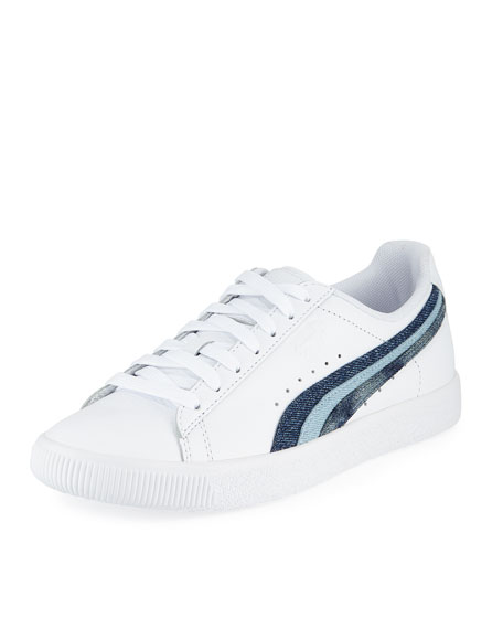 quality design 4ff5d 29252 Clyde Denim-Striped Leather Sneakers