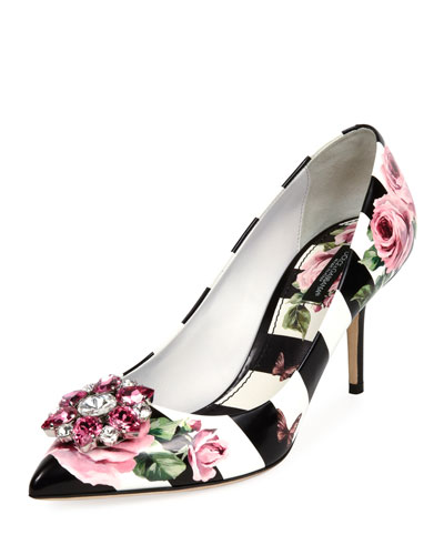 Striped Rose-Print Leather Pump