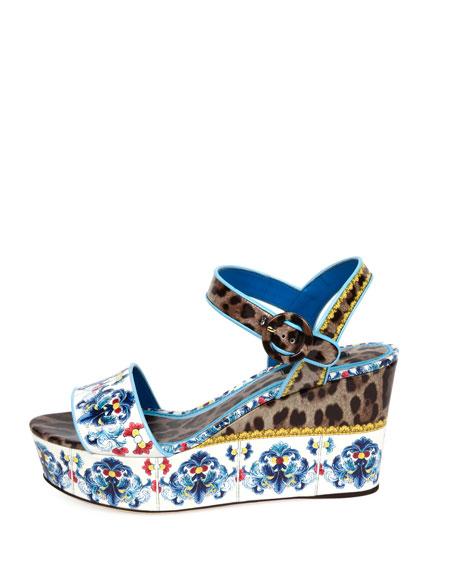 Maiolica Leopard Wedge Sandal