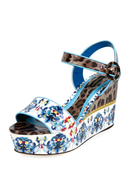 Majolica & Leopard Print Flatform Sandal in Multicolour