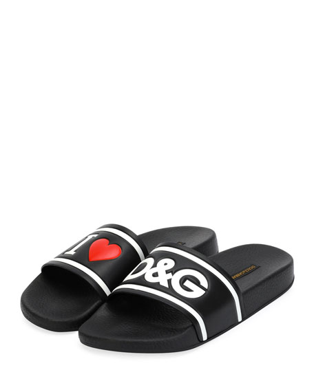 Slippers In Printed Rubber And Calfskin in Black