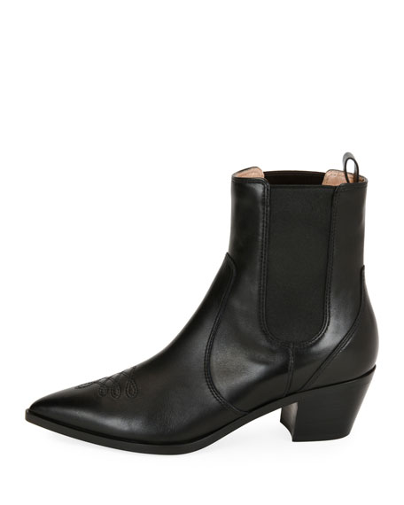 31959d290 Gianvito Rossi Embroidered Leather Western Ankle Boots