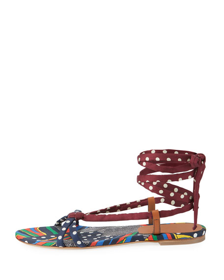 Reeves Mixed-Pattern Flat Ankle-Tie Sandal