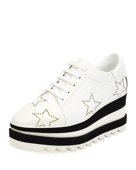 Sneak-Elyse Lace-Up Perforated-Star Platform Shoes, White