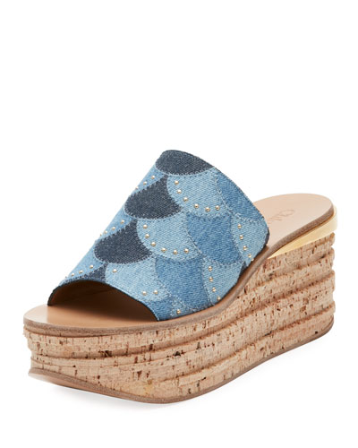 Camille Patchwork Denim Wedge Slide Sandal