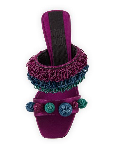 Carina Cord-Embroidered Mule Sandal
