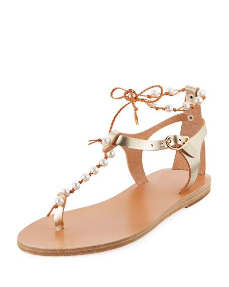 Chrysso Pearly Beaded Flat Thong Sandal