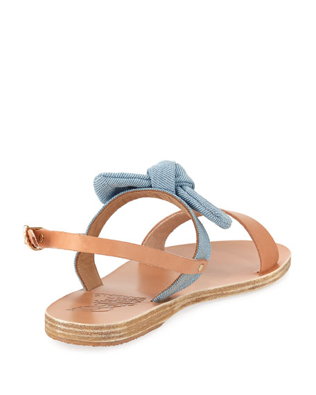 Clio Denim Bow Flat Slingback Sandal
