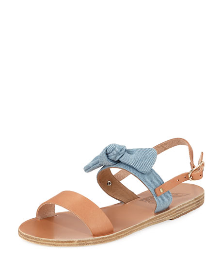 Ancient Greek Sandals Clio Denim Bow Flat Slingback