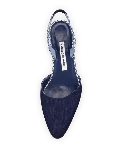 Aspro Linen Block-Heel Slingback Pump