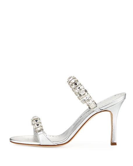 Dallifac Metallic Leather Two-Band Slide Sandal