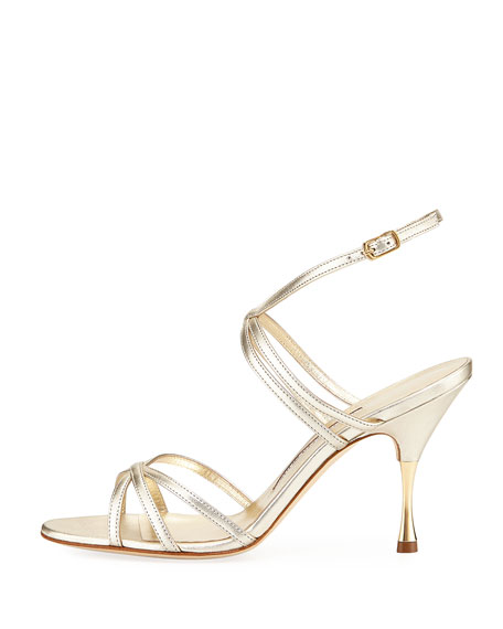Naro Strappy Metallic Leather Sandal