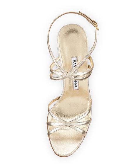 Naro Strappy Metallic Leather Sandal