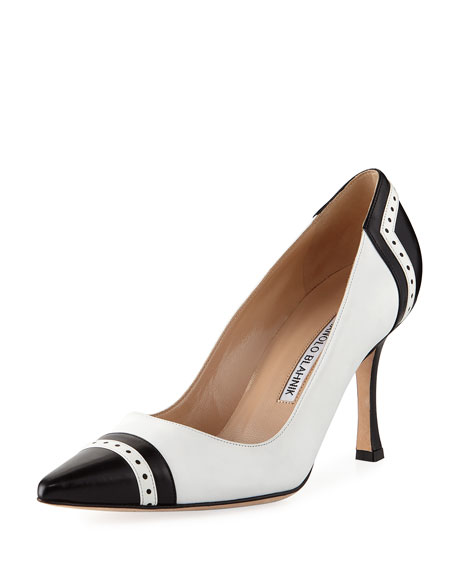 Ovate Cap-Toe Leather Pump