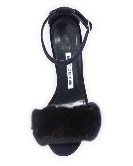 Mincha Fur-Trim d'Orsay Sandal