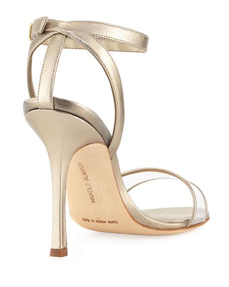 Dandolo Metallic Ankle-Wrap Sandal