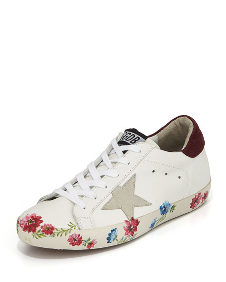 SNEAKERS SUPERSTAR WHITE BORDEAUX HAND PAINTED SOLE