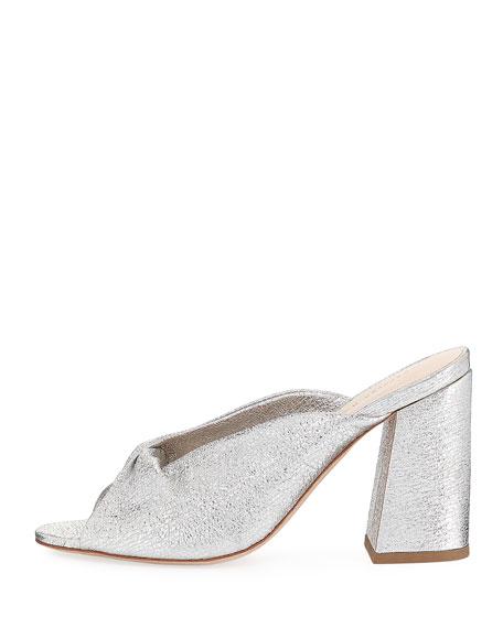 Laurel Crinkle Metallic Mule Sandal
