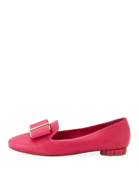 Leather Bow Loafer, Pink