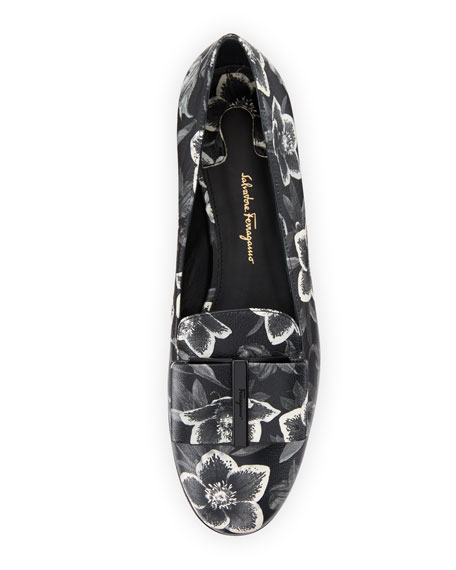 Floral-Print Leather Bow Loafer