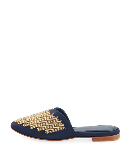 Zanya Beaded Satin Mule Slide