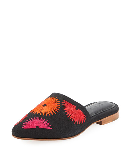 ZYNE BLOOM EMBROIDERED LINEN MULE SLIDE