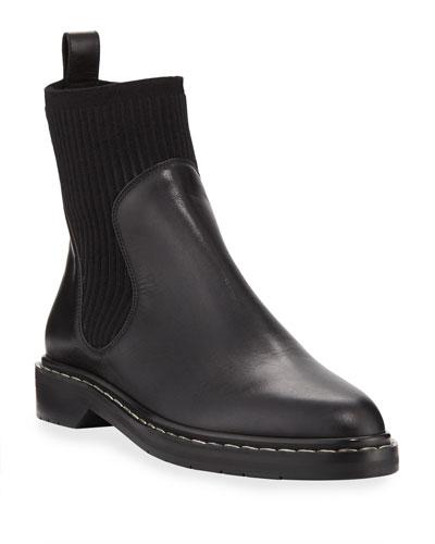Fara Knit-Trim Leather Bootie