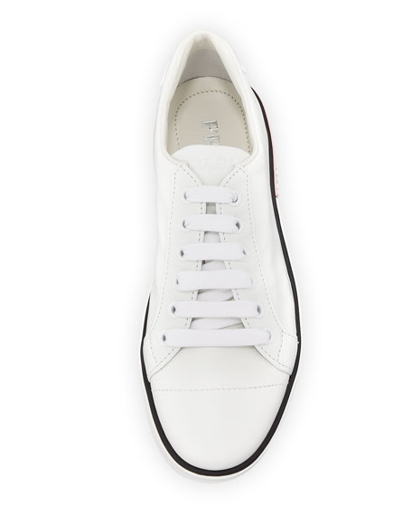 Leather Low-Top Sneaker with Two-Tone Heel