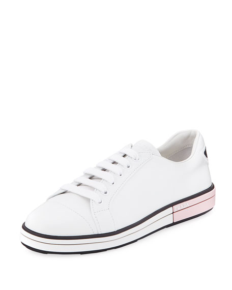Prada Leather Low-Top Sneaker with Two-Tone Heel
