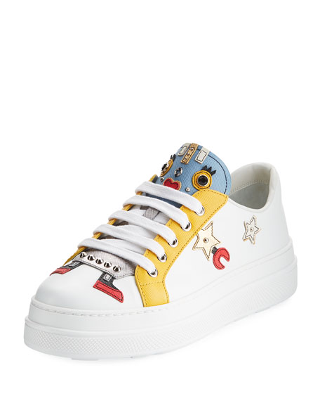 Robot Double-Sole Leather Low-Top Sneaker