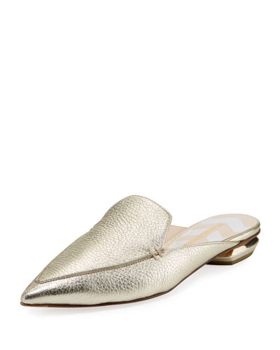 Beya Metallic Leather Loafer Mule