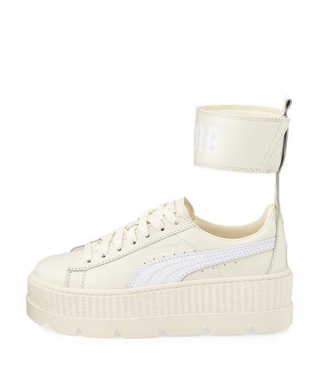 Leather Ankle-Strap Platform Sneaker