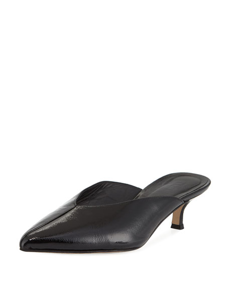 Frank Kitten-Heel Leather Mule