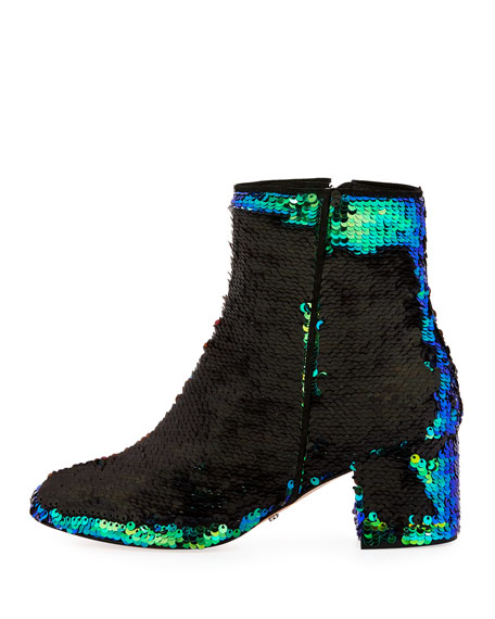 Flippy Sequined Ankle Bootie, Multi