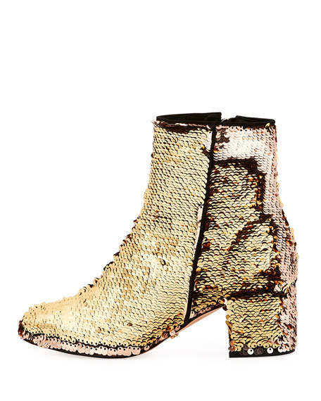 Flippy Sequined Ankle Bootie, Gold
