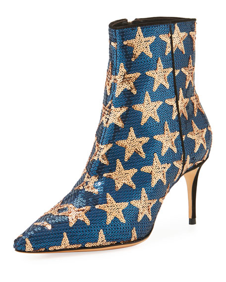 Star Sequined Point-Toe Boot, Navy