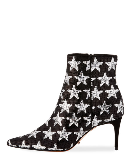 Star Sequined Point-Toe Boot, Silver