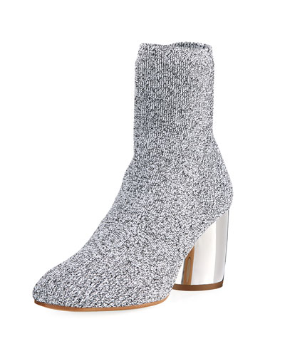 Space Dye Knit Sock Block-Heel Bootie