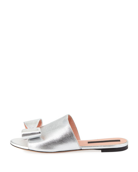 Metallic Bow Flat Slide Sandal