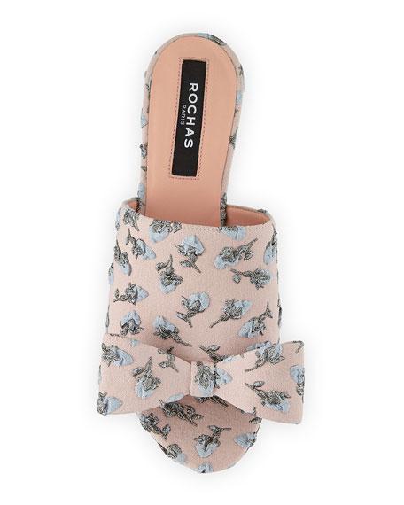Flower-Embroidered Flat Slide Sandal