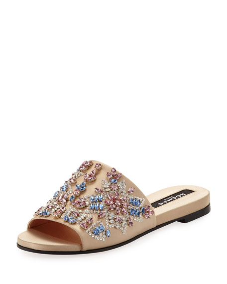 EMBELLISHED SATIN SLIDE SANDAL
