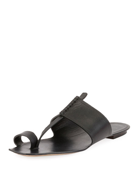 Leather Toe-Ring Flat Slide Sandal