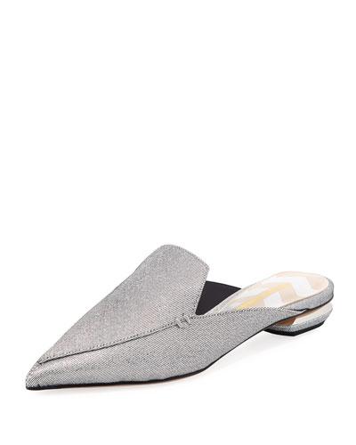 Beya Metallic Twill Mule Slide, Silver