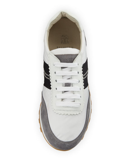 Suede and Nylon Platform Trainer Sneaker