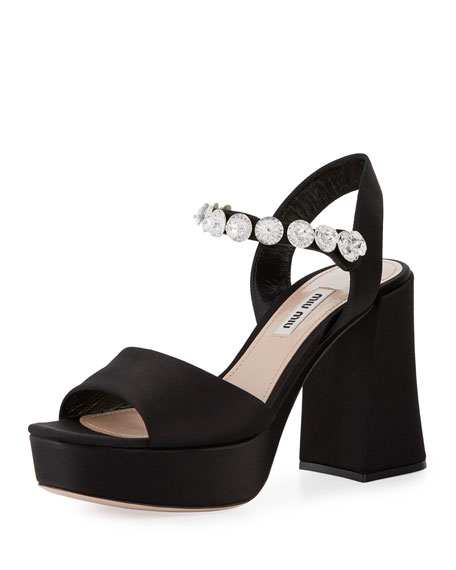 Jeweled Satin Platform Sandal